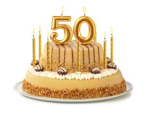 Festliche Torte mit goldenen Kerzen - Nummer 50