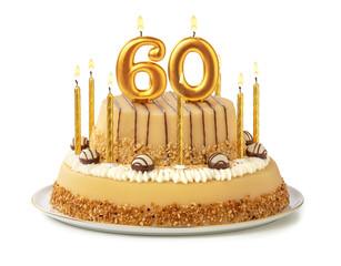 Festliche Torte mit goldenen Kerzen - Nummer 60