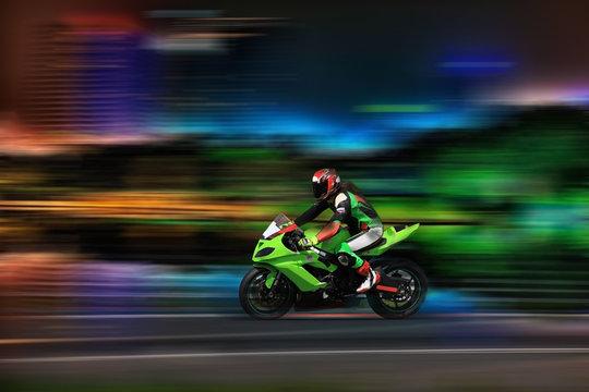 Racing bike rider racing at high speed