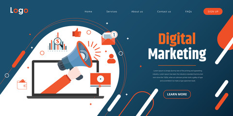 Web Template. Concept for Digital marketing agency, digital media campaign flat vector illustration