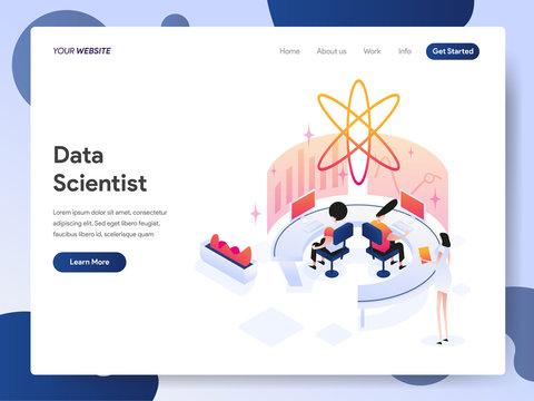Landing page template of Data Scientist Isometric Illustration Concept. Modern design concept of web page design for website and mobile website.Vector illustration EPS 10