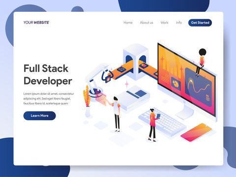 Landing page template of Full Stack Developer Isometric Illustration Concept. Modern design concept of web page design for website and mobile website.Vector illustration EPS 10