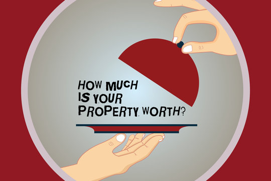 Conceptual hand writing showing How Much Is Your Property Worthquestion. Business photo text Establish the price of properties Hu analysis Hands Serving Tray Platter and Lifting the Lid