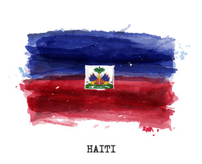 Realistic watercolor painting flag of Haiti . Vector .