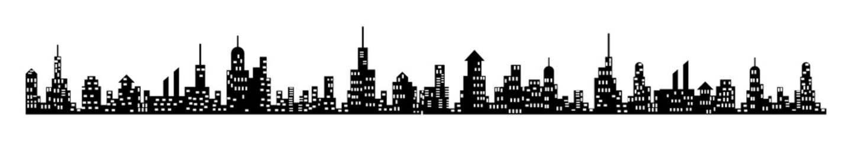 City skyline long silhouette, black isolated on white background, vector illustration. Fotobehang