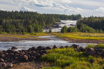 The rapids Storforsen in the Pite River in Swedish Norrbottens are one of the biggest in Europe. It is one of the most popular places to visit in Swedish Lapland.