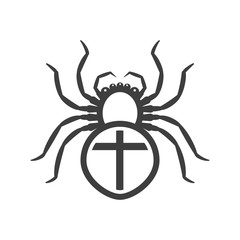 Icon of a white spider with a cross on the abdomen. Vector on a white background