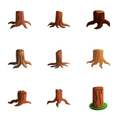 Nature tree stump icon set. Cartoon set of 9 nature tree stump vector icons for web design isolated on white background