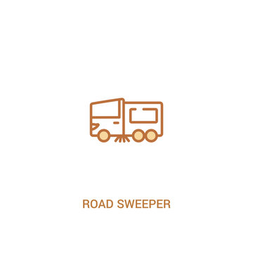 road sweeper concept 2 colored icon. simple line element illustration. outline brown road sweeper symbol. can be used for web and mobile ui/ux.