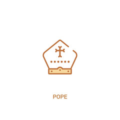 pope concept 2 colored icon. simple line element illustration. outline brown pope symbol. can be used for web and mobile ui/ux.