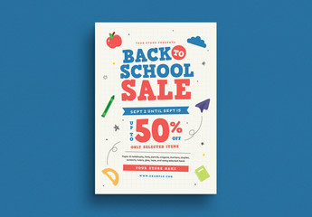 School Themed Flyer Layout with Colorful Elements