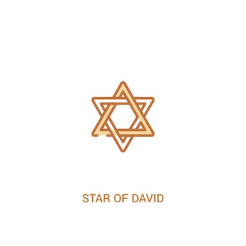 star of david concept 2 colored icon. simple line element illustration. outline brown star of david symbol. can be used for web and mobile ui/ux.