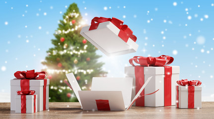 Christmas presents on wooden floor with blurred snowflakes and green fir tree background 3d-illustration