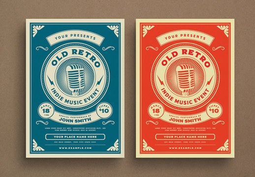 Retro Music Event Flyer Layout
