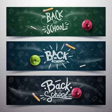 Back to School typography. Vector badges, labels and logos. School Background. Hand drawn lettering. Blackboard background with red apple, pencil,  and chalk.