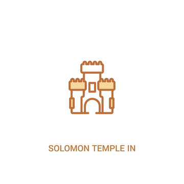 solomon temple in jerusalem concept 2 colored icon. simple line element illustration. outline brown solomon temple in jerusalem symbol. can be used for web and mobile ui/ux.