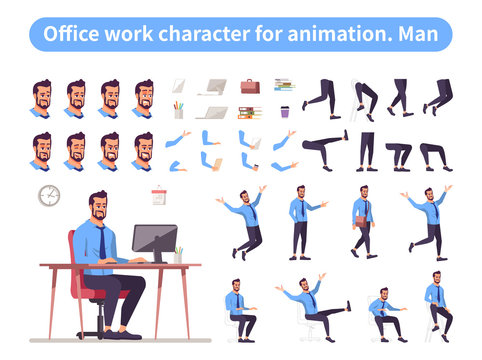 Businessman front view animated flat vector character design. Office worker character animation creation cartoon set. Manager constructor with various face emotion, body poses, hand gestures, legs kit