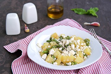 Potato Salad with Green Asparagus Beans and Feta Cheese. Harvest potatoes. Thanksgiving concept. American cuisine.