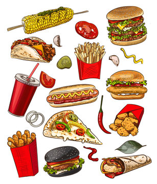 Fast food sketch  for fastfood restaurant or bistro. Vector cheeseburger burger or hotdog sandwich snack, french fries or pizza and coffee or soda drink, taco and black burger