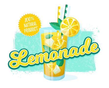 Lemonade - vector illustration. Retro banner.