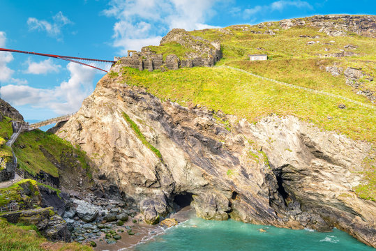 View to Tintagel island, legendary Tintagel castle ruins and Merlin's cave.