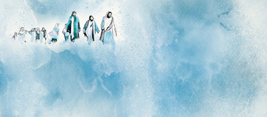 Jesus and the disciples. Christian watercolor background