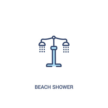 beach shower concept 2 colored icon. simple line element illustration. outline blue beach shower symbol. can be used for web and mobile ui/ux.