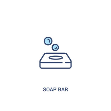 soap bar concept 2 colored icon. simple line element illustration. outline blue soap bar symbol. can be used for web and mobile ui/ux.
