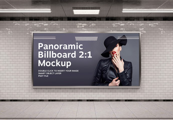 Panoramic Advertising Frame in Underground Tunnel Mockup