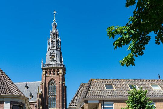 tower of church called Grote Kerk. Schagen, The Netherlands