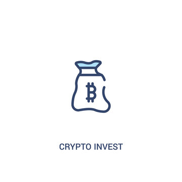 crypto invest concept 2 colored icon. simple line element illustration. outline blue crypto invest symbol. can be used for web and mobile ui/ux.
