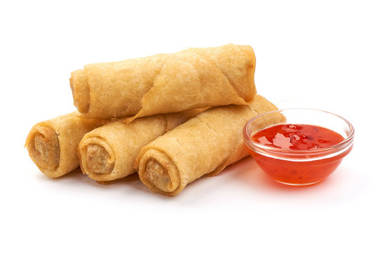 Chinese Traditional Spring rolls, isolated on white background