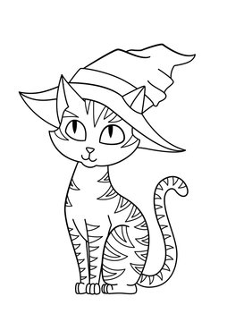 Halloween cat in hat doodle coloring book page