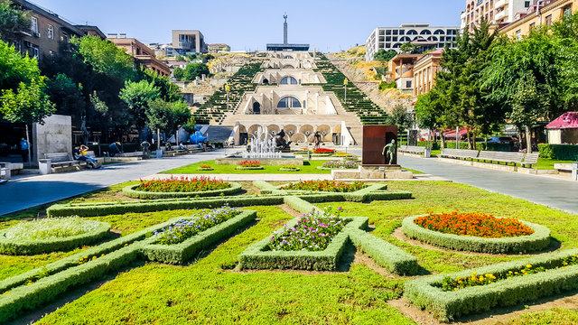 The Cascade - a giant stairway made of limestone. Yerevan, Armenia.