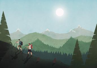 Men hiking along idyllic mountain and forest landscape