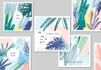 Abstract Illustrative Floral Card Layout Set