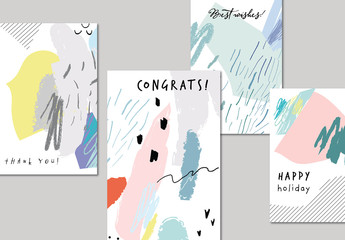 Colorful Abstract Illustrative Poster Set