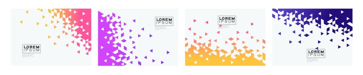 Fototapeta Set of colorful gradient triangle on white background with space. Modern background for business or technology presentation. vector illustration obraz
