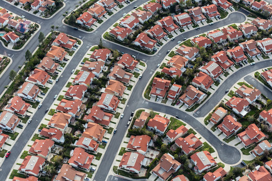 Aerial view of typical suburban cul-de-sac street in the San Fernando Valley region of Los Angeles, California.