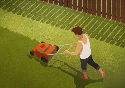 Barefoot man mowing lawn in backyard