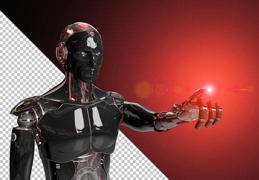 Isolated Black Robot Mockup Pointing Finger