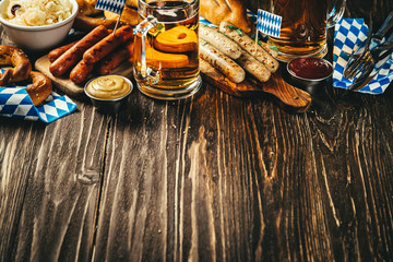 October fest concept - traditional food and beer served at event