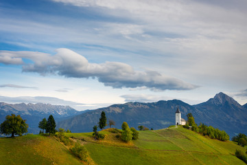 Jamnik church with mountains in Slovenia