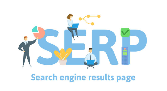 SERP, Search Engine Results Pages. Concept with people, letters and icons. Colored flat vector illustration. Isolated on white background.