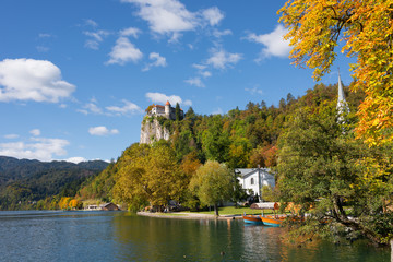 Lake Bled and Bled Castle in autumn
