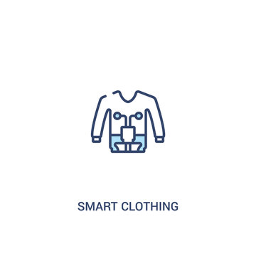 smart clothing concept 2 colored icon. simple line element illustration. outline blue smart clothing symbol. can be used for web and mobile ui/ux.