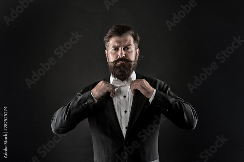 Bearded Man With Bow Tie Well Dressed And Scrupulously Neat