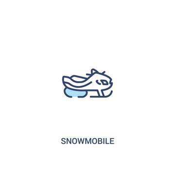 snowmobile concept 2 colored icon. simple line element illustration. outline blue snowmobile symbol. can be used for web and mobile ui/ux.