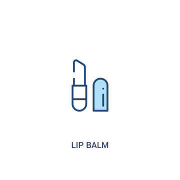 lip balm concept 2 colored icon. simple line element illustration. outline blue lip balm symbol. can be used for web and mobile ui/ux.