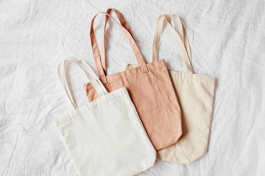 Canvas tote bags. Reusable eco bags. Eco friendly concept.